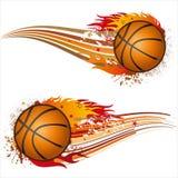 baloncesto con las llamas ilustración del vector