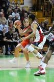 Baloncesto de las mujeres. UGMK contra los E.E.U.U. Imagen de archivo libre de regalías