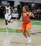 Baloncesto de las mujeres. UGMK contra los E.E.U.U. Fotos de archivo