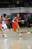 Baloncesto de las mujeres. UGMK contra los E.E.U.U. Foto de archivo libre de regalías