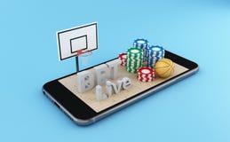 baloncesto de observación 3d y apuesta de concepto en línea stock de ilustración