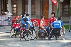 Baloncesto de sillón de ruedas Imagen de archivo libre de regalías