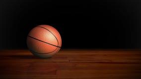 Baloncesto en el piso de madera 2 ilustración del vector