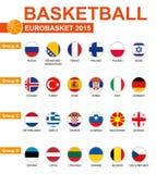 Baloncesto, Eurobasket 2015, todos los grupos, todas las banderas Fotografía de archivo