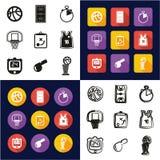Baloncesto todo en los iconos uno negros y el diseño plano del color blanco fijado a pulso Imagen de archivo