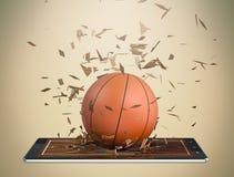 Baloncesto y nueva tecnología de comunicación stock de ilustración