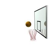 Baloncesto y tablero trasero Foto de archivo libre de regalías
