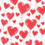 Balones de aire bajo la forma de mosca del corazón en el cielo Un símbolo del amor y de los amantes D?a del `s de la tarjeta del  ilustración del vector