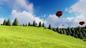 Balones de aire sobre el bosque y la montaña almacen de metraje de vídeo