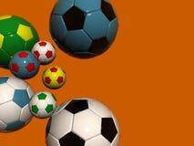 Balones de fútbol coloreados del balompié Imágenes de archivo libres de regalías