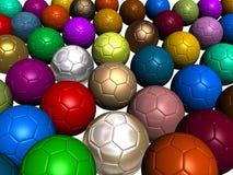 Balones de fútbol coloridos Imagen de archivo libre de regalías