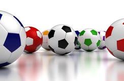 Balones de fútbol coloridos stock de ilustración