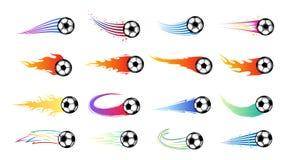 Balones de fútbol coloridos del fútbol del vuelo del vector stock de ilustración