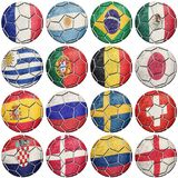 Balones de fútbol del fútbol con las banderas nacionales Mundial 2018 Fotografía de archivo