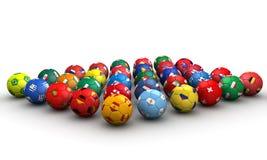 Balones de fútbol del país Imagen de archivo libre de regalías