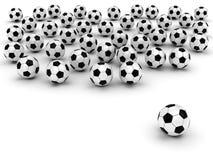 Balones de fútbol en blanco Imágenes de archivo libres de regalías