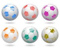 Balones de fútbol fijados Imagenes de archivo