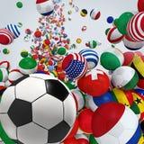 Balones de fútbol que caen Fotografía de archivo