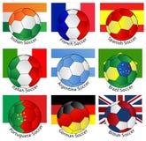 Balones de fútbol con de indicadores Imagen de archivo libre de regalías