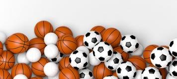 Balones del baloncesto, del voleibol y de fútbol en una bandera de pared blanca con el espacio en blanco ilustración 3D Imágenes de archivo libres de regalías