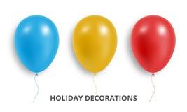 baloney Комплект реалистических красных, голубых и желтых воздушных шаров Украшения воздушного шара праздника бесплатная иллюстрация