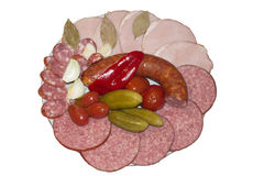 Assortment of Sausage. Baloney beef brought chorizo color drink fired food group ham mea stock photography