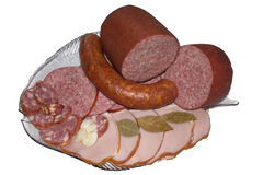 Assortment of Sausage. Baloney beef brought chorizo color drink fired food group ham mea royalty free stock images