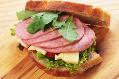 Baloney and cheese sandwich Royalty Free Stock Images