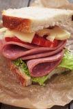 Baloney i serowa kanapka zdjęcia stock