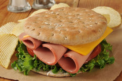 Baloney kanapka na cienkim round kanapka chlebie obraz royalty free