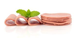 Baloney kiełbasa - jedzenie na białym tle zdjęcia royalty free