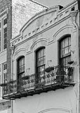 Baloney Planters and Windows in The French Quarter in B&W. New Orleans, LA USA - May 9, 2018 - Baloney Planters and Windows in The French Quarter in B&W stock photo