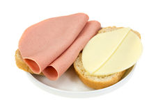 Baloney and provolone cheese sandwich Royalty Free Stock Photos