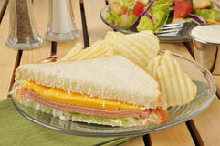 Baloney sandwich with chips Royalty Free Stock Photography