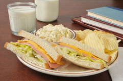 Baloney sandwich and coleslaw Stock Images