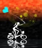 balonowa dziewczyna na rowerze Zdjęcie Royalty Free