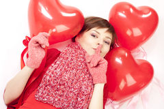 balonowa kierowa czerwona kobieta Obraz Royalty Free