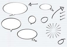 Balonowa wiadomość w ołówkowego rysunku stylu z papierem ilustracji