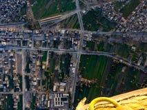 Balonowy lot w Luxor, piękny widok miasto od nieba zdjęcia stock