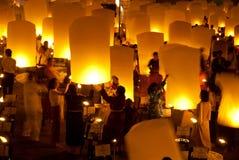 Balonowy Newyear tajlandzki tradycyjny lampion. Zdjęcia Stock