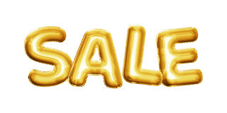 Balonowy sprzedaż tekst pisze list 3D złoty foliowy realistycznego Zdjęcia Stock