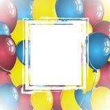 Balonowy tło z białą retro ramą Obraz Stock