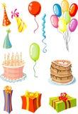 balony ciasta prezentów imprezę rzeczy pasztetowego kapeluszy Zdjęcia Stock