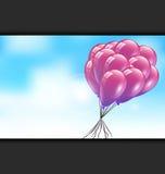 Balony i Ładny niebo dnia tło Obraz Royalty Free