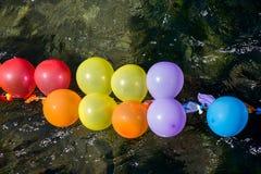 Balony jak cele na wodzie zdjęcie stock
