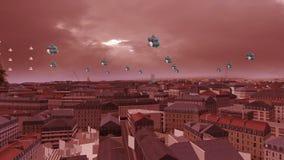 Balony Lata nad 3d miastem zbiory wideo