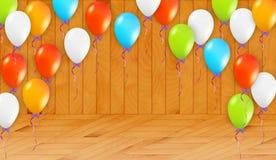 Balony w drewnianym pokoju ilustracji
