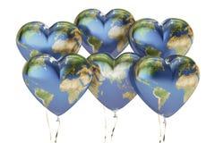 Balony w formie serc z mapą ziemia, 3D rendering Obraz Royalty Free
