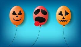 Balony z straszną dekoracją w różnorodnych festiwalach i twarzą Fotografia Stock