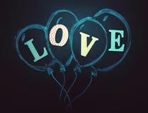 Balony z tekstem miłość ja rysuje z kredą na blackboard Zdjęcie Stock